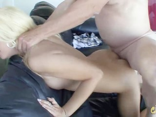 sexy blonde takes on big ole dick and gets massive creampie