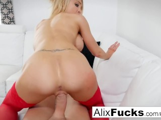 Fit model Alix Lynx takes on a big throbbing cock