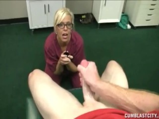 Blonde nurse strokes a big cock asking for a big cum