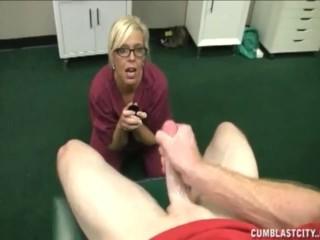 Blonde nurse strokes a big cock asking for a big cum