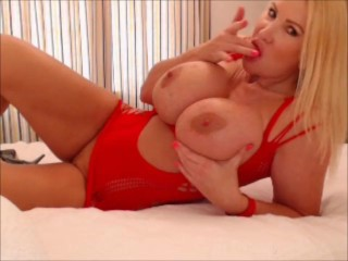 My new red dress getting my 34JJ huge tits out