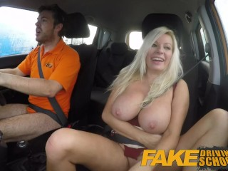 Fake Driving School squirting big tits milf gets creampie in her gaping pus