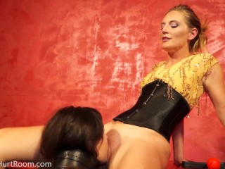 Mona Wales plays with new pet slave Juliette Marsh