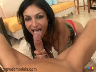 persian iranian milf cougar persia pele blowjob pov cum on tits! must see!