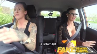 Preview 1 of Fake Driving School New driver gets a crash course in strap on lesbian fuck