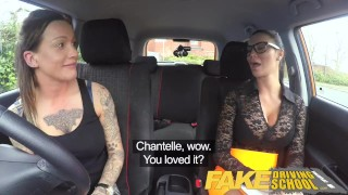 Preview 2 of Fake Driving School New driver gets a crash course in strap on lesbian fuck