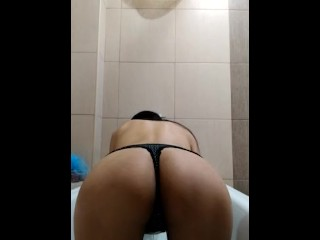 Pissing in doggie with panty