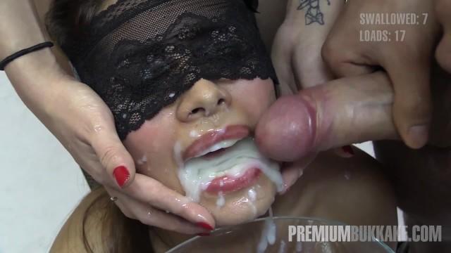 Premium bukkake incognito swallows 61 mouthful cum loads