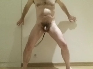 straight hairy guy dance with huge butt plug and flogging tail - sexy daddy