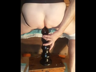"Coach Fucks 15"" Dildo While Wearing Knee Pads & Jock Strap"