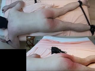 Hard spanking, flogging, paddle, huge butt plug punishment for hairy daddy