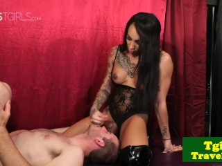 tattooed trap dominating with anal in couple