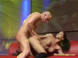 busty babe fucked on public stage