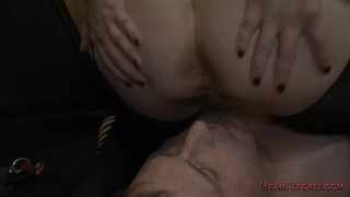 Mistress Aiden Starr Makes Her Slave Worship Her Beautiful Ass - Femdom  big tits asshole closeup slave asslicking bdsm bbw femdom dungeon meanbitches kink curvy domme mistress big boobs natural tits ass eating aiden starr