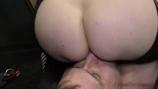 Mistress Aiden Starr Makes Her Slave Worship Her Beautiful Ass - Femdom  big tits asshole closeup slave asslicking bdsm bbw femdom dungeon meanbitches kink curvy domme mistress big boobs aiden starr natural tits ass eating