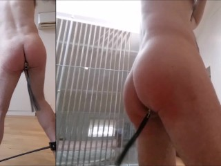 Straight guy full self punishment: plug, spank, flog, fucked, ass to mouth
