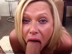 Bubble Butt Blonde ANNA JOY Huge Cock POV Blowjob and CUM SWALLOW! Wow! A++