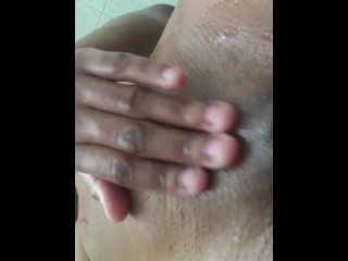 Ebony Teen Pleases herself after shower
