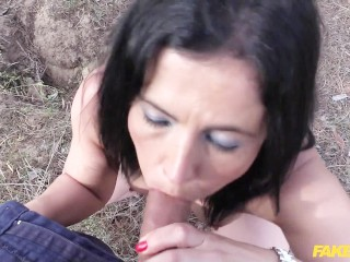 brunette milf takes cop cock up her ass in public
