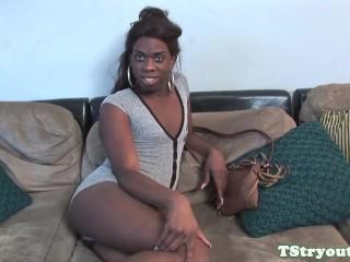 ebony trans goddess pulling cock at audition