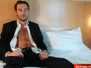In spite of him: Stephane's cock (a str8 guy) gets serviced