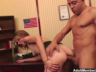 AdultMemberZone - Huge dick makes her scream with pleasure and pain