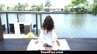 Preview 2 of TeenPies - Hot and Sexy Ebony Gets Creampie After Yoga
