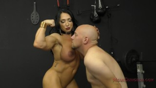Muscle Queen Brandi Mae Makes Her Slave Worship Her Ass - Femdom  ass worship muscle woman fitness model face sitting slave bdsm meanbitches kink domme butt mistress muscle foot worship asshole licking ass kissing ass licking brandi mae