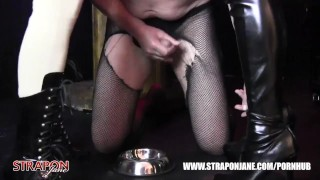 Femdoms in latex dominate tag team sissy face fuck with strapon as he wanks  big tits strapon bdsm oral femdom masturbate amateur wanking domination kink brunette latex straponjane face fuck tag team adult toys