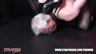 Femdoms in latex dominate tag team sissy face fuck with strapon as he wanks tag team domination femdom big tits kink masturbate amateur strapon latex wanking face fuck bdsm brunette oral adult toys straponjane