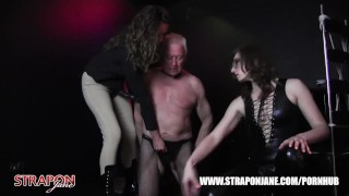 Femdoms in latex dominate tag team sissy face fuck with strapon as he wanks  face fuck big tits strapon bdsm oral femdom masturbate amateur wanking domination kink brunette tag team latex adult toys straponjane