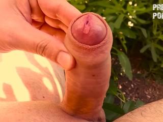 Outdoor precum squeezing - No cumshot