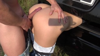 Step Brother Grinding And Cum On Yoga Pants Sister While She Stuck in Trunk