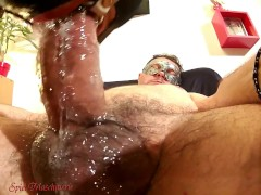 : Epic ring gag throat drilling & jizz spurts on slut in red corset & boots