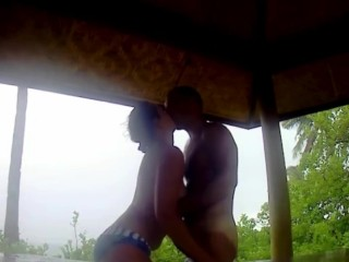 Beautiful romantic hot sex in a sacred place Calangaman island