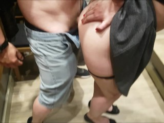Public fuck in mall dressing room