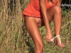 Anisyia Livejasmin followed by stalker in the woods, hidden cam, public exp