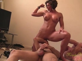 Female muscle porn star Mistress Amazon is masturbating