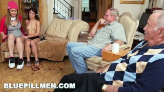 BLUEPILLMEN - Erectis Maximus with Gigi Flamez and Sally Squirt (bpm14938)  old man small old daddy young petite 3some drilled cute teenager grandpa blue pill men natural tits bluepillmen geriatric bpm14938 grandfather