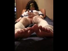 Sissy masturbates after school, Feet close up