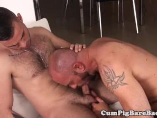 Bald DILF barebacking naive jock