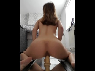 Slut Strips & Rides Dildo For Daddy