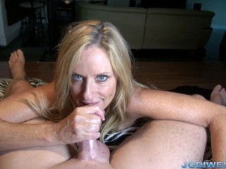 Jodi West in StepMothers Welcome Home HandJob