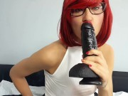 Smoking Red Head Fuck Her Pussy with Huge Dildo and Eat Cum