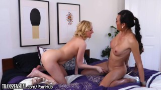 TransSensual Little Blonde Chick rides TS Dick  big tits high heels lingerie tranny transsexual asian blowjob blonde cock sucking ts shemale trans big boobs she cock transsensual ts fucks girl