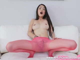 Petite babe Jericha Jem clad in pink sheer nylon pantyhose fingers pussy