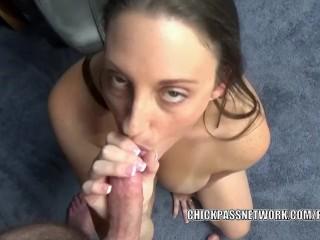 Brunette MILF Melanie Hicks is on her knees and giving head