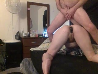 Mature Blonde MILF Gives great Rim Job to BF & Squirts w Toy in Ass