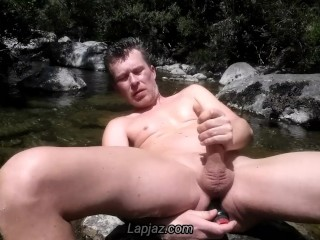 Anal orgasm in a river