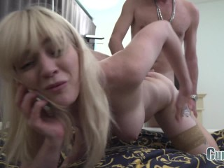 BIG TITTED GOLD DIGGER SLUT FUCKED HARD WHILE HER BOYFRIEND IS ON THE PHONE